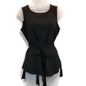 Bobeau XS Top Black Sleeveless Top Tie Waist